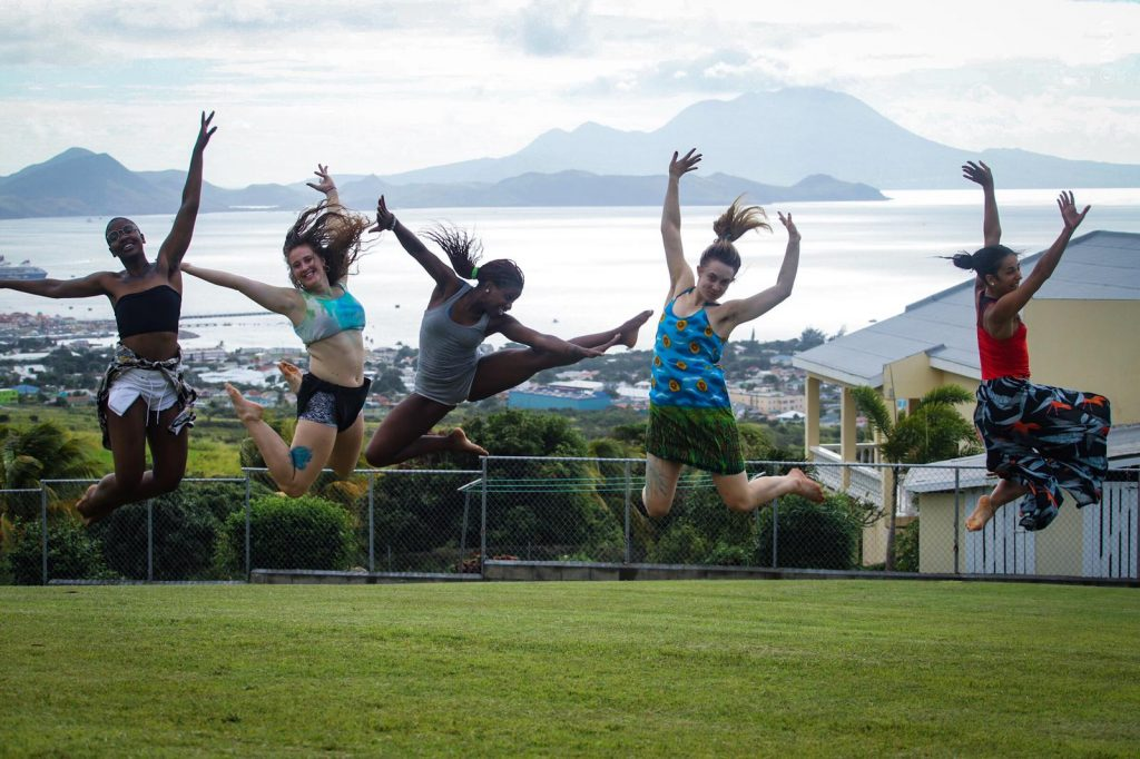 School Dancers Jumping in St Kitts